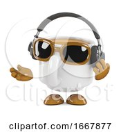 Poster, Art Print Of 3d Coffee Cup Listens To Headphones