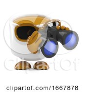 Poster, Art Print Of 3d Coffee Cup Watches Through Binoclars