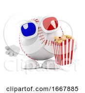 3d Baseball Character Eats Popcorn At The Movies