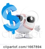 3d Baseball Holds US Dollar Currency Symbol