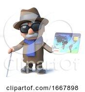 3d Cartoon Old Blind Man Character Holding A Debit Card
