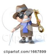 Poster, Art Print Of 3d Blind Man Has A Golden Key