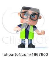 Poster, Art Print Of 3d Health And Safety Officer Speaks Into The Microphone