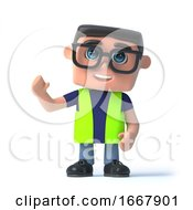 Poster, Art Print Of 3d Health And Safety Officer Waves Hello
