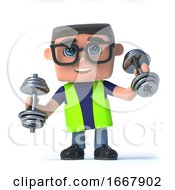 Poster, Art Print Of 3d Health And Safety Officer Exercising With Weights