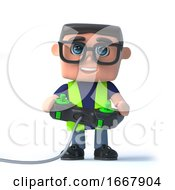 Poster, Art Print Of 3d Health And Safety Officer Plays A Videogame