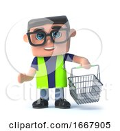 Poster, Art Print Of 3d Health And Safety Officer Goes Shopping With His Basket