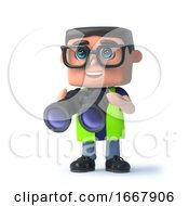 Poster, Art Print Of 3d Health And Safety Officer Looks Through Binoculars