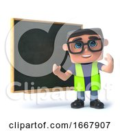 Poster, Art Print Of 3d Health And Safety Worker Teaches At The Blackboard
