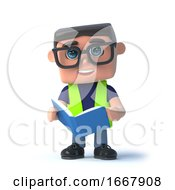 Poster, Art Print Of 3d Health And Safety Worker Reads The Manual