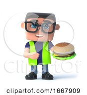 Poster, Art Print Of 3d Health And Safety Worker Eats A Beef Burger