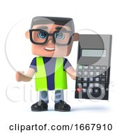 Poster, Art Print Of 3d Health And Safety Worker Does The Math On A Calculator