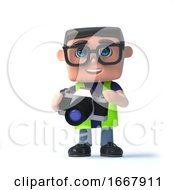 3d Health And Safety Worker Takes Photos With His Camera