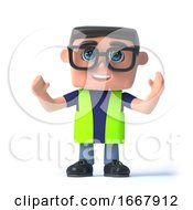 Poster, Art Print Of 3d Health And Safety Officer Cheers