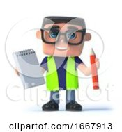 3d Health And Safety Worker With Notepad And Pencil