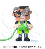 3d Health And Safety Officer With Green Energy Power Lead And Plug