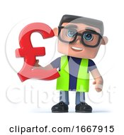 3d Health And Safety Worker Holds A UK Pounds Sterling Currency Symbol