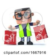 Poster, Art Print Of 3d Health And Safety Worker Holding Some Sale Bags