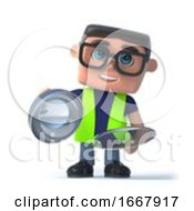 Poster, Art Print Of 3d Health And Safety Worker Offers Silver Service