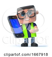 Poster, Art Print Of 3d Health And Safety Worker Chats On His Smartphone