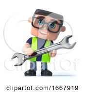 Poster, Art Print Of 3d Health And Safety Man Holding A Spanner