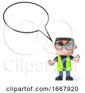 3d Health And Safety Worker With Empty Speech Bubble