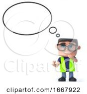 3d Health And Safety Officer With Empty Thought Bubble