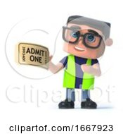 Poster, Art Print Of 3d Health And Safety Officer Has A Ticket For Admission