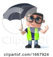 Poster, Art Print Of 3d Health And Safety Worker Under An Umbrella