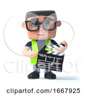 Poster, Art Print Of 3d Health And Safety Man Makes A Movie