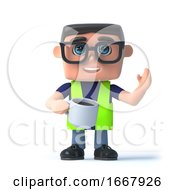 3d Health And Safety Man With A Cup Of Coffee