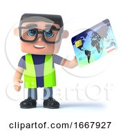 Poster, Art Print Of 3d Health And Safety Man Pays With A Credit Card