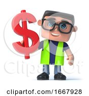 3d Health And Safety Man Holding A US Dollar Currency Symbol