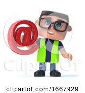 Poster, Art Print Of 3d Health And Safety Worker Has An Email Address Symbol