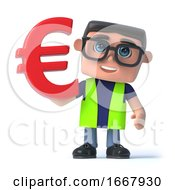 Poster, Art Print Of 3d Health And Safety Officer Holds Euro Currency Symbol