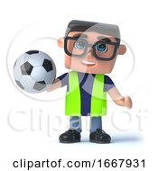 Poster, Art Print Of 3d Health And Safety Officer Holding A Football
