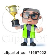 Poster, Art Print Of 3d Health And Safety Man Wins The Gold Cup Trophy
