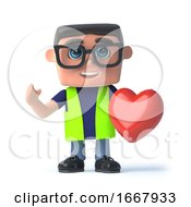 3d Health And Safety Officer Holding A Red Heart