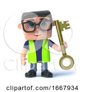 Poster, Art Print Of 3d Health And Safety Man Holding A Gold Key