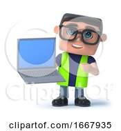 Poster, Art Print Of 3d Health And Safety Officer Holding A Laptop