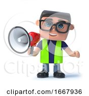 Poster, Art Print Of 3d Health And Safety Man With A Megaphone