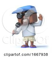 3d Sailor Dude Sings Into The Microphone