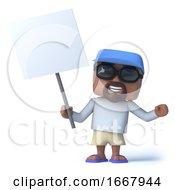 3d Sailor Dude With A Blank Placard