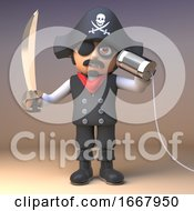 3d Cartoon Pirate Captain With Cutlass Communicates With A Tin Can On A String 3d Illustration