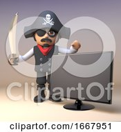 Cartoon 3d Pirate Captain Character With Sword Stands By A Widescreen Flatscreen Tv Monitor 3d Illustration
