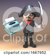 3d Cartoon Pirate Captain Character With Cutlass Holding An Old Typewriter 3d Illustration