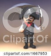 3d Pirate Captain Cartoon Character With Cutlass Holding An Umbrella 3d Illustration