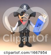3d Pirate Captain Cartoon Character With Cutlass Holding A USB Thumb Drive Memory Stick For Data Backup 3d Illustration