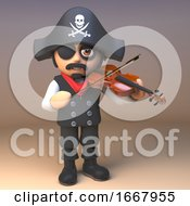 3d Pirate Captain Cartoon Character Playing A Violin 3d Illustration