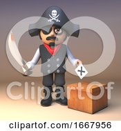 Poster, Art Print Of 3d Cartoon Pirate Captain Character With Cutlass Casting His Vote In The Electoral Ballot Box 3d Illustration